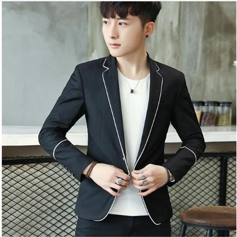 2018 Mens Clothing Casual Blazers Suit Jacket Drop Shipping Slim Fit M-3XL White Edge At Front Edge Wholesale Black Grey Male