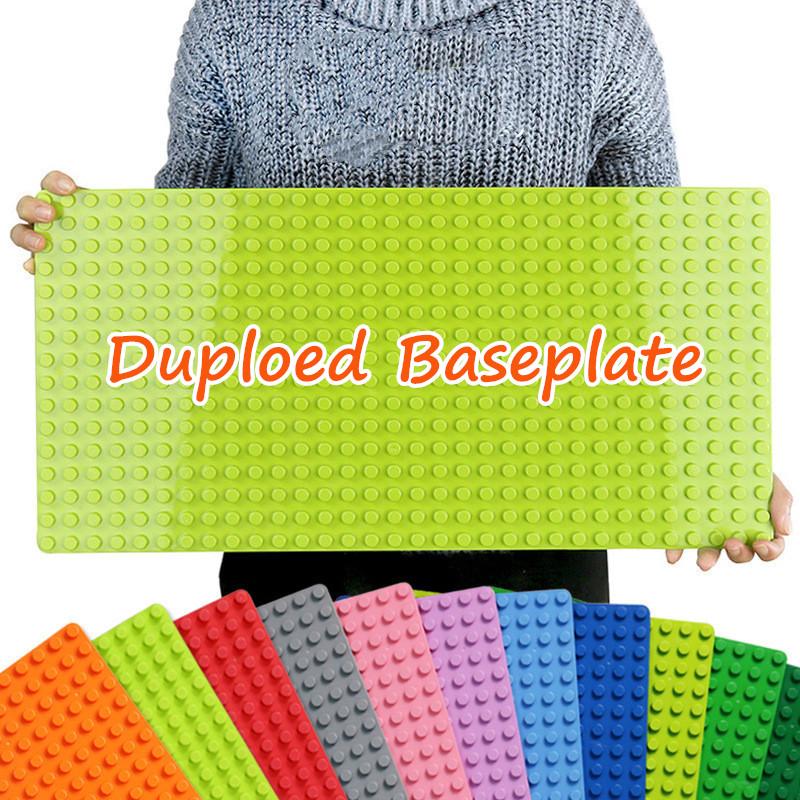 Duploed Large Size Baseplate Big Base Plate Building Blocks 16*32 Dots 51*25.5cm Fit duploed animals Toys For children