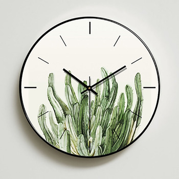 Modern Design Wall Clock Nordic Simple Silent Green Plant Room Clock Wall Reloj De Pared De Cristal Kitchen Decor Clock MM50WC