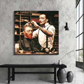 Funny Artwork Van Gogh get Haircut from Dalí Painting Printed on Canvas 2