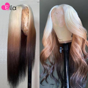 Elia Ombre Brown 613 Body Wave Lace Frontal Wig Transparent Body Wave Lace Front Wig 13x4 Remy Peruvian Human Hair Pre Plucked image