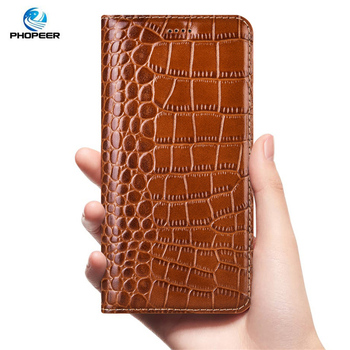 Crocodile Genuine Leather Case For Huawei Y9 Y5 Y6 Y7 Prime 2018 Business Flip Cover Mobile Phone Cases