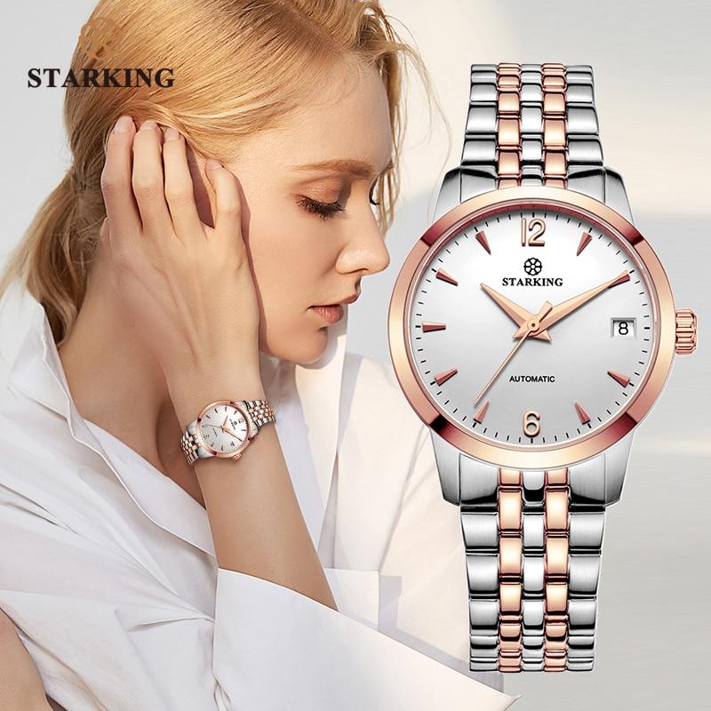STARKING Watch Women Automatic Self-wind Analog Ladies Waterproof Stainless Steel Wristwatch 5atm Female Relogio Feminino AL0194