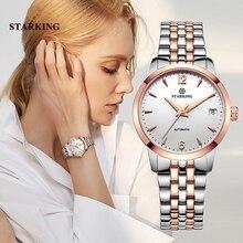 Starking relógio feminino automático de pulso, relógio analógico feminino impermeável de aço inoxidável com pulseira de 5atm, al0194