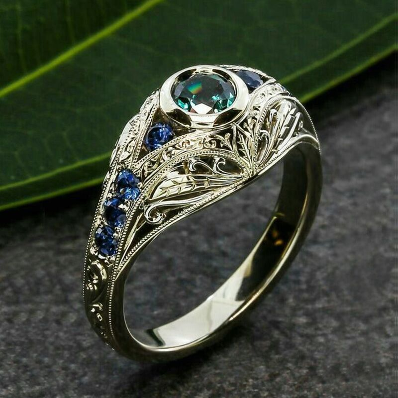 Female Luxruy Vintage Craved Rings Bridal Promise Wedding Ring Green Blue Rhinestone Rings