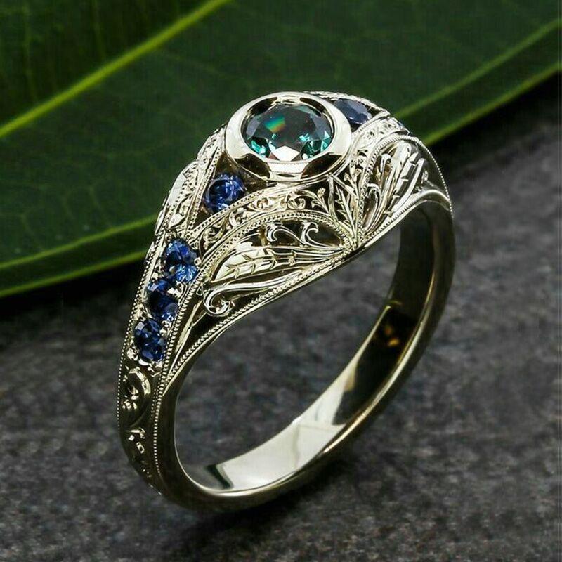 Female Luxruy Vintage Craved Rings Bridal Promise Wedding Ring Green Blue Rhinestone Rings