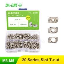 65/150/200 pces t-porca conjunto martelo cabeça t porca kit m3 m4 m5 conector niquelado para 20 séries perfil de alumínio acessórios
