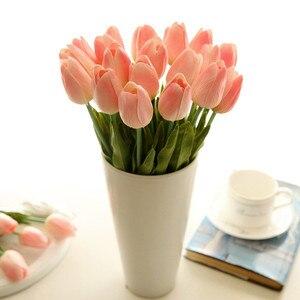 Image 2 - 送料無料31ピース/ロットpuミニチューリップの花ブーケ人工シルク花ホームパーティーの装飾用