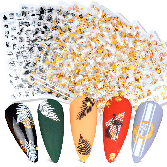Фото наклейка для дизайна ногтей morixi 5d тисненые золотые банановые цена