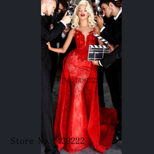 Evening-Dresses Sofuge Train Mermaid Vestidos-De-Fiesta Soiree-Plus Red No Removable