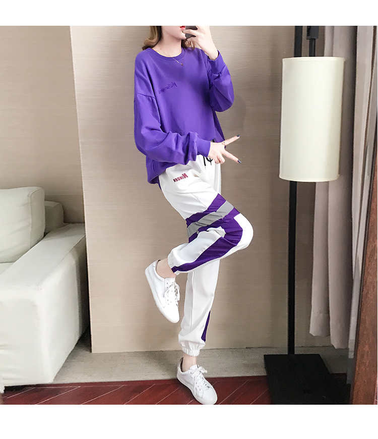 Autumn Winter Purple Two Piece Sets Women Long Sleeve Sweatshirt And Pants Suits Casual Fashion Korean Bf Style 2 Piece Sets 34