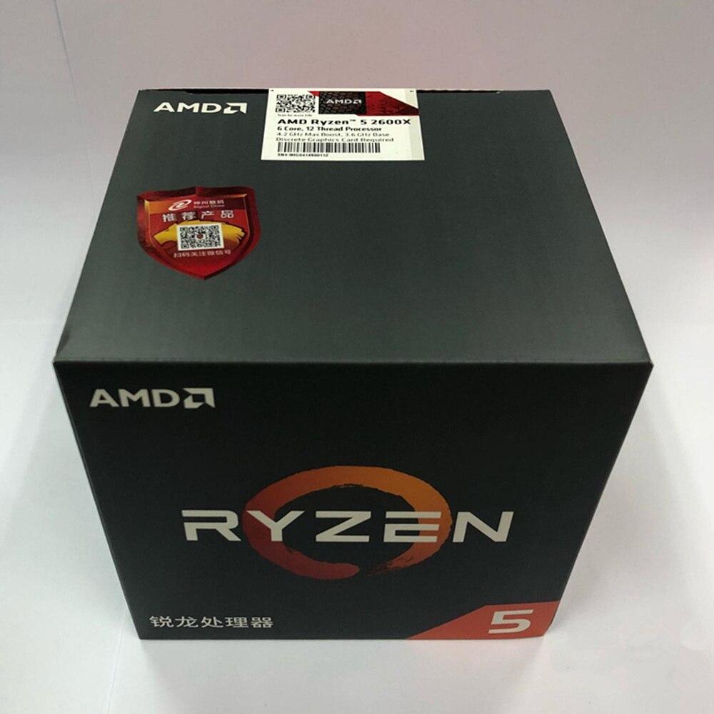 AMD Ryzen 5 2600X R5 2600X3.6 GHz Six-Core Twelve-Wire, L3 = 16M 95W YD260XBCM6IAF Socket AM4, Original Box With Fan