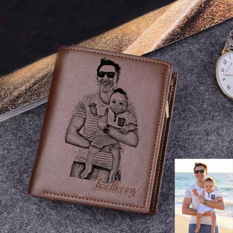 Grawerowane portfele dla mężczyzn ultra-cienki młody krótki skórzany portfel moda skóra bydlęca niestandardowe zdjęcie grawerowanie dzień ojca prezent portfel