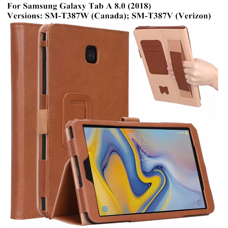 Case For Samsung Galaxy Tab A 8.0 2018 SM-T387 With Pencil Holder Luxury Stand Flip Cover For Galaxy Tab A 8.0 Case + Hand Strap