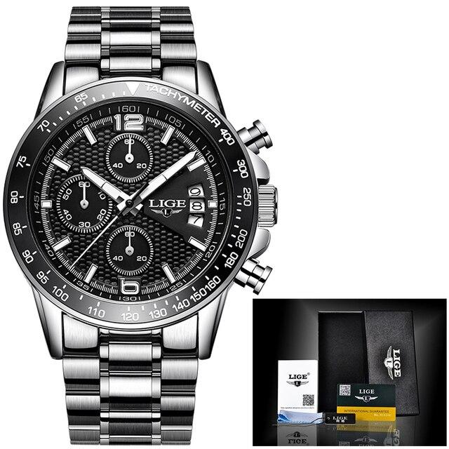 часы наручные lige мужские кварцевые брендовые роскошные полностью фотография
