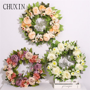 Image 2 - multiple styles Silk Peony Artificial Flowers Wreaths Door Perfect Quality simulation Garland For Wedding Home Party decoration