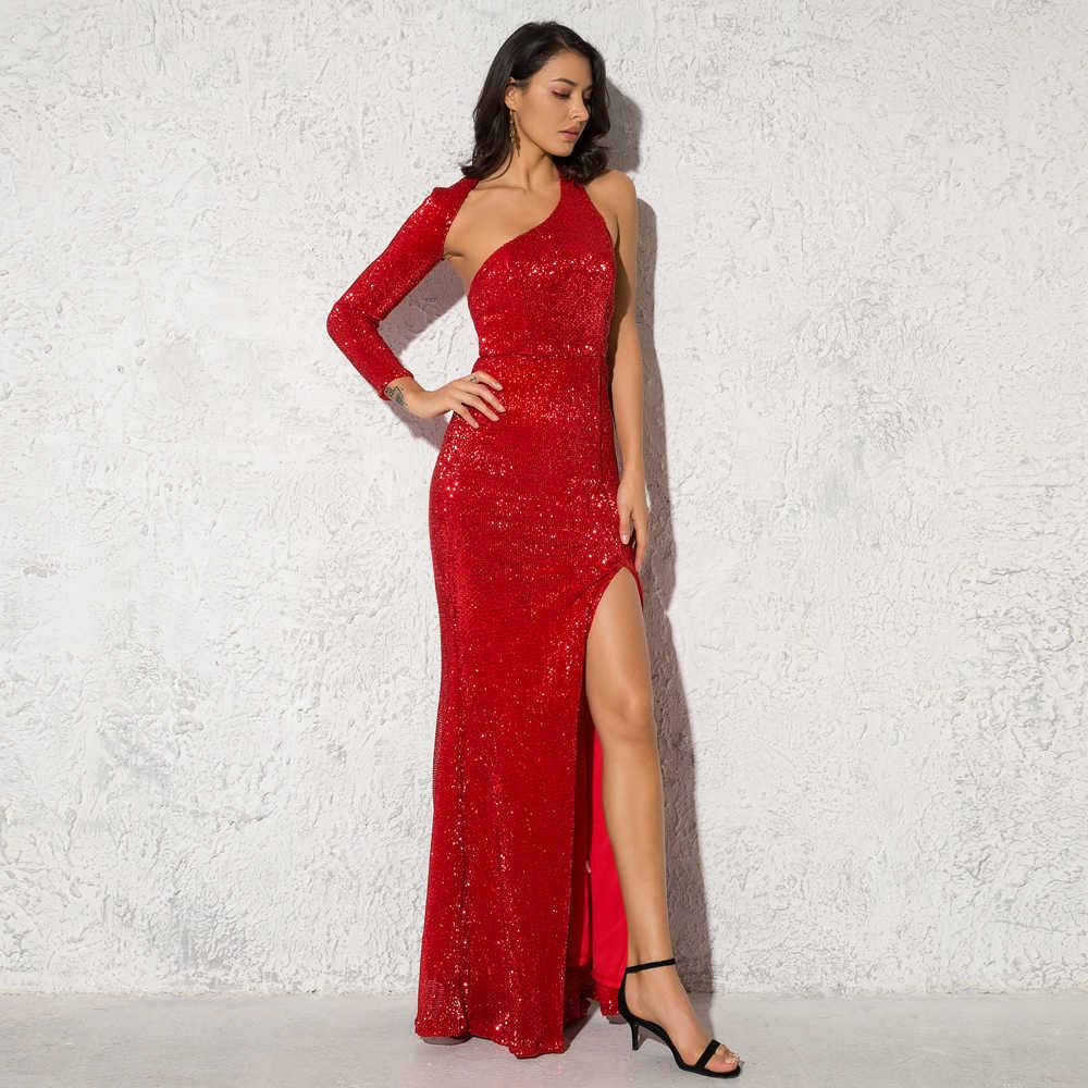 Oco para fora aberto de volta sexy sem costas um ombro elástico esmeralda maxi vestido perna dividir elástico comprimento total vestido de festa vermelho