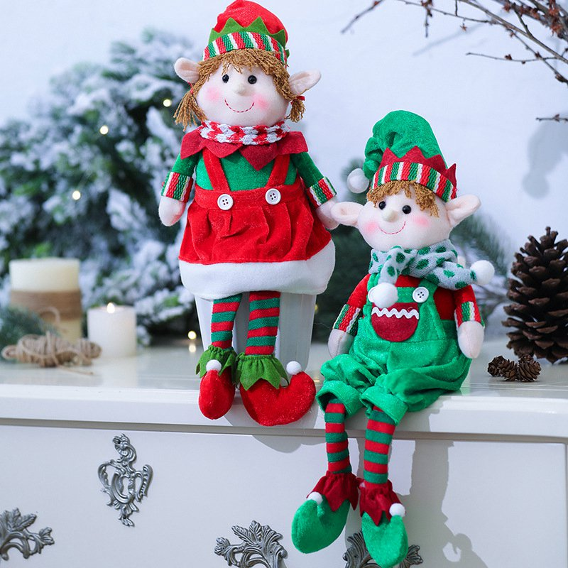 Speedline 2 Pieces 48CM Merry Christmas Ornaments Gift Plush Dolls Cartoon Stuffed Animal  Decorations For Home Toy For Kids
