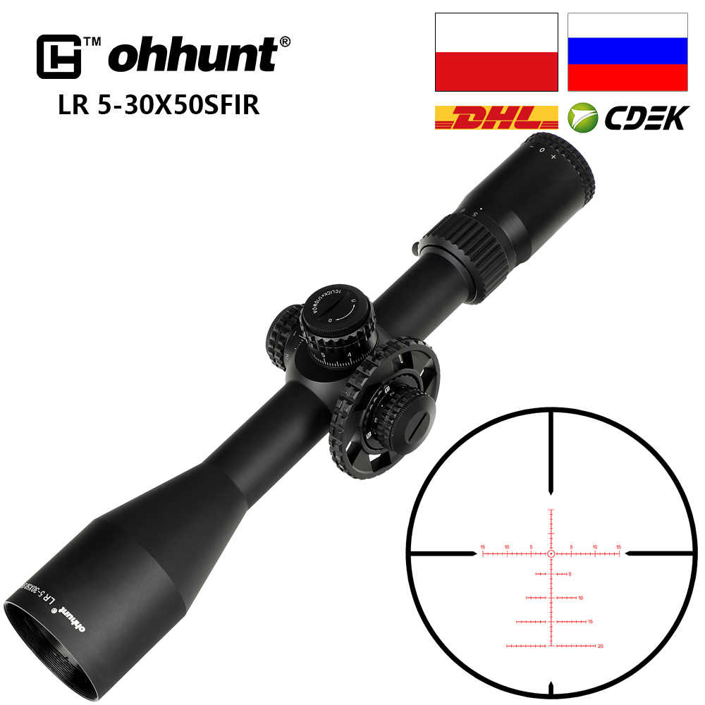 Ohhunt LR 5-30x50 SFIR ציד היקף טקטי זכוכית חרוט Reticle אדום תאורה צד Parallax צריחי נעילת איפוס Riflescope