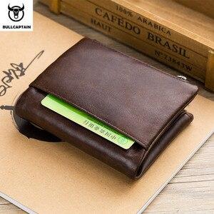 Image 5 - BULLCAPTAIN אמיתי עור RFID גברים ארנק אשראי עסקי כרטיס מחזיקי כפול רוכסן עור פרה עור ארנק ארנק Carteira 021