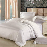 19 Momme 100% Mulberry Silk Sheets 4Pcs Duvet Comforter Cover Fitted Sheet Bedding Set for Full Bed