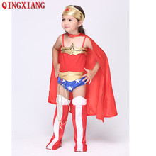 Swimsuit Faux Leather Jumpsuit Cloak S-XL 2019 Girl Anime Costumes Play Superman Clothes Halloween Children Wonder Costume