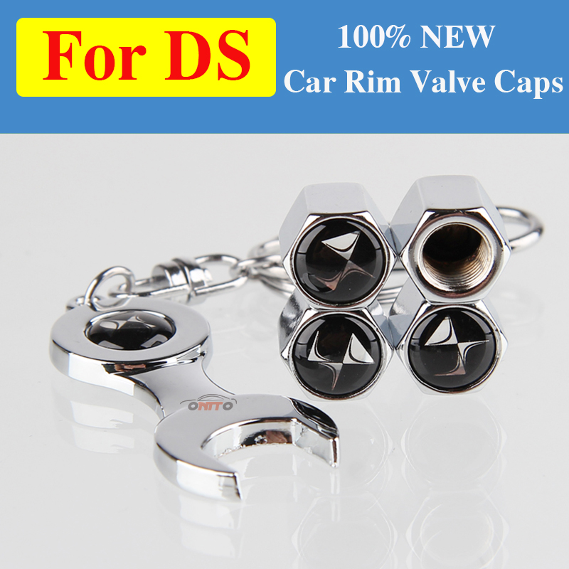 4 x Audi Black Valve Dust Caps Covers with a Spanner Style Key Ring A1 A3 A4 A5