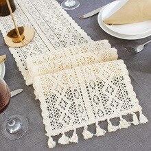 Camino de mesa de encaje de ganchillo Beige con borla de algodón decoración de la boda hueco mantel nórdico Romance cubierta de mesa café corredores de cama