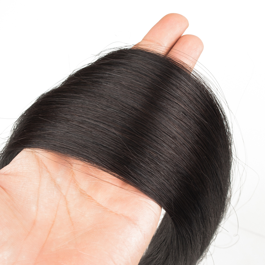 Double Drawn  Bundles Natural Color Straight Short    Long  for Black Women 6