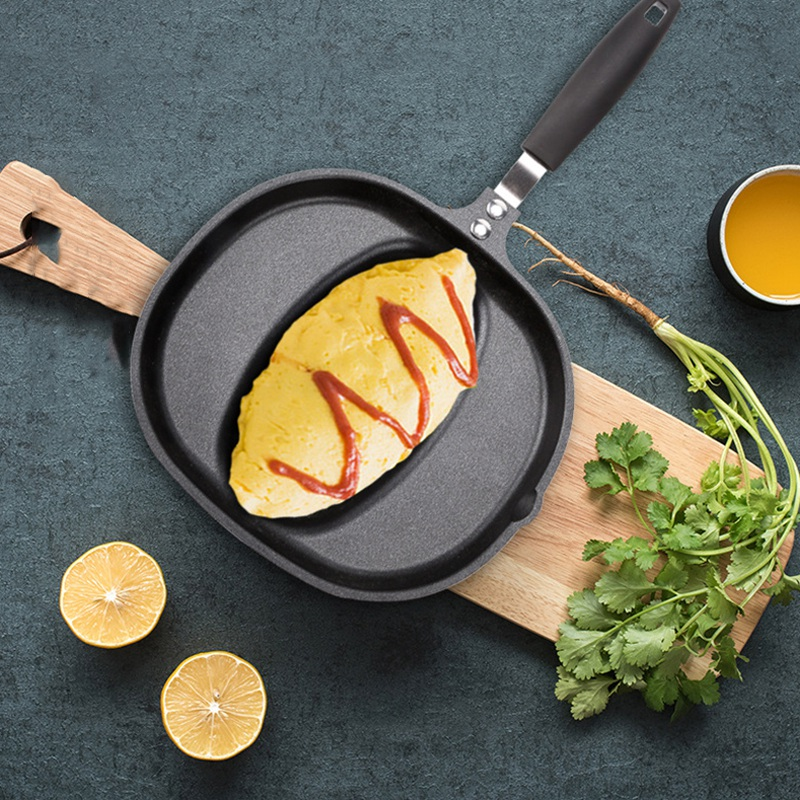 Non-Stick Frying Pan Cooking Dish Japanese Style Omurice Mould Fuel Gas Commercial Use