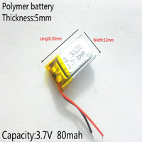 3.7V 80mAh 501220 Lithium Polymer Li-Po li ion Rechargeable Battery cells For Mp3 MP4 MP5 GPS  mobile bluetooth