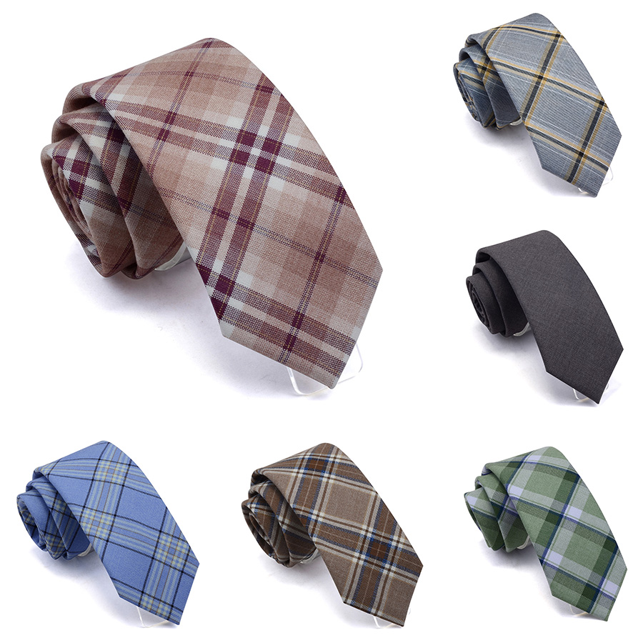 GUSLESON Slim Tie 7cm Plaid Neck Ties For Men Quality TR Suit Material Ties For Wedding Party Business Red Green Cotton Gravata