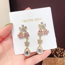 2019 New Korean Fashion Women Pendant Earrings Crystal Flower Drop Elegant Lady Jewelry