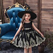 new baby girls dresses 2018 kids dresses for girls clothing cute lace princess christmas costume children clothes 3 14 years Halloween Black Embroidery Princess Dress and Hat for Baby Girls Children Costume Clothes 3-10 Years Girls Christmas Dresses