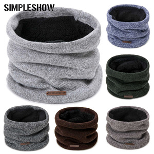 New Men Winter Scarf Knit Winter Warm Ring Scarf For Women Thick Plus Velvet Solid Solor Scarf Unisex Clothing Accessories(China)