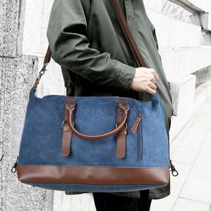Image 5 - Scione erkekler tuval seyahat omuz bavul çanta büyük kapasiteli çanta iş rahat Vintage deri kadınlar için basit Tote çanta