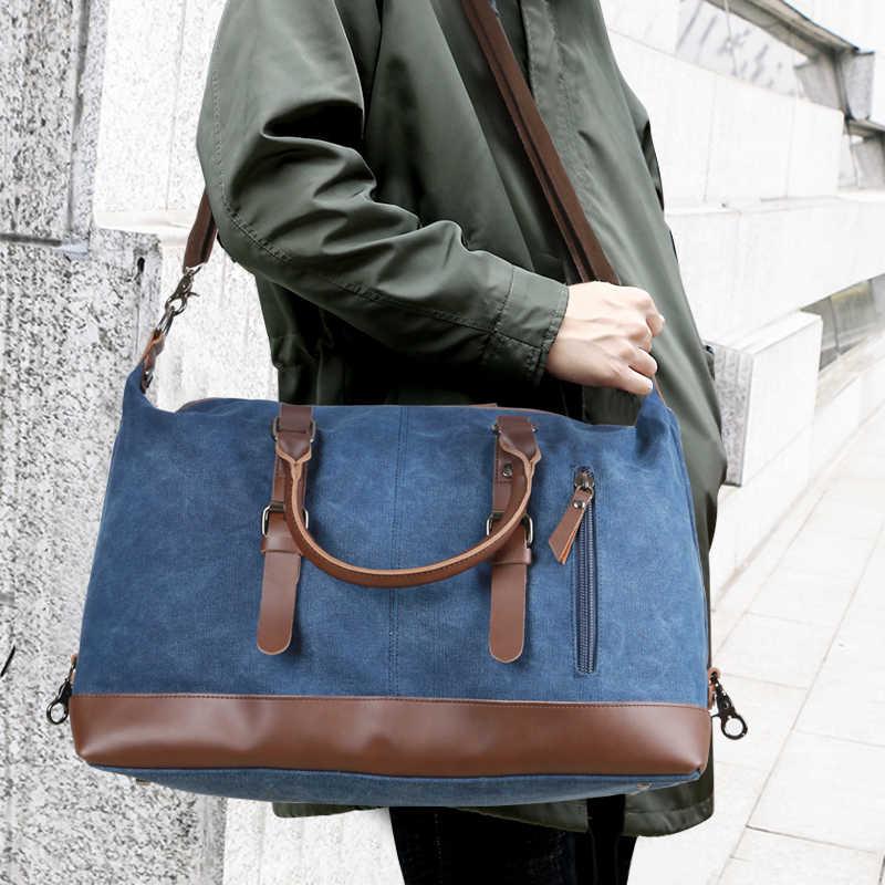 Scione мужские холщовые дорожные сумки на плечо для багажа Большая вместительная сумка деловая Повседневная винтажная кожаная Простая Сумка-тоут для женщин