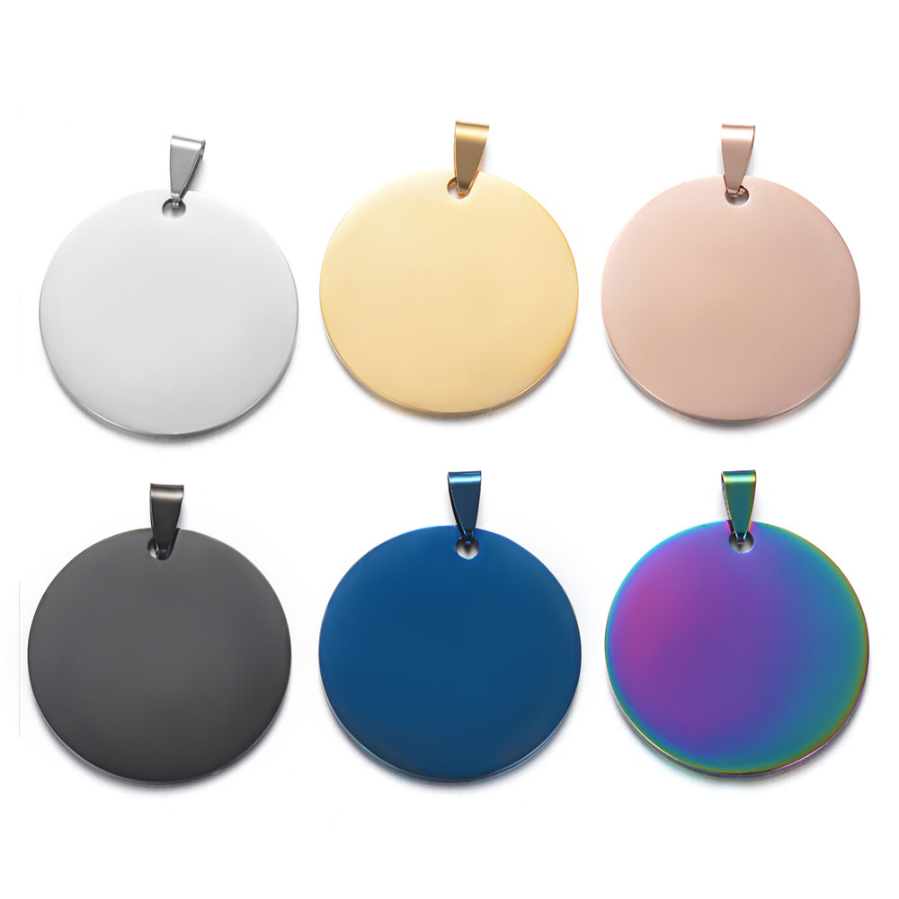 3pcs/lot 100% Stainless Steel Mirror Polished Round Disc Engraving Blank Pendant Wholesale OEM Engraved Pendants