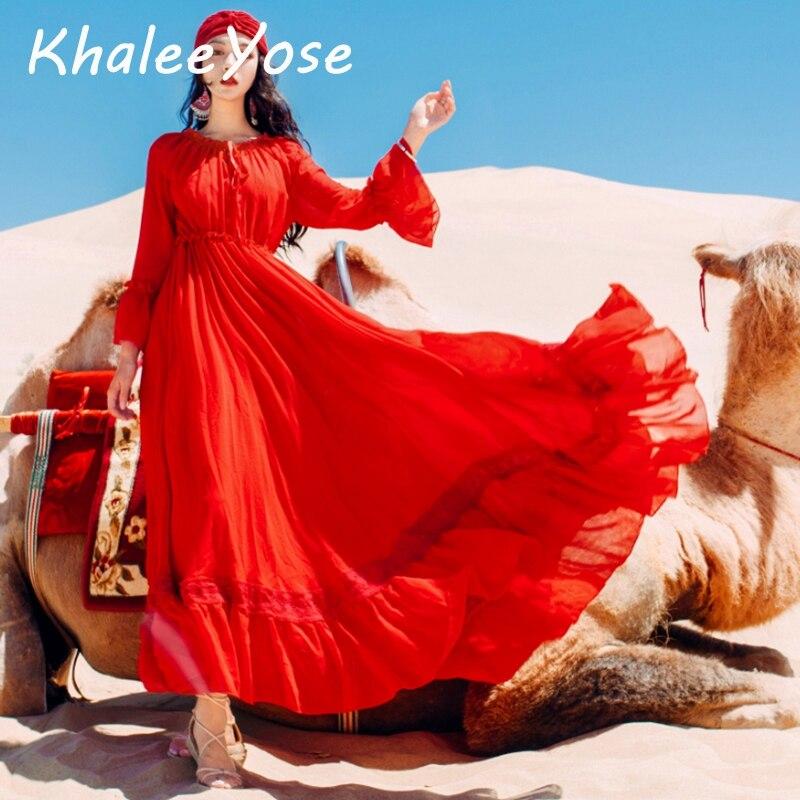KHALEE YOSE rouge Vintage Maxi robe automne Boho longue robe femmes à manches longues volants taille élastique en mousseline de soie maille vacances robes