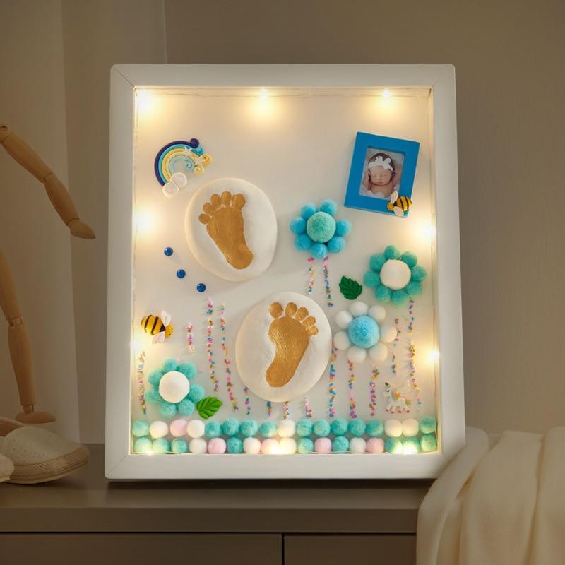 Baby Hand And Foot Print Mud Lanugo Souvenir DIY Newborn Baby Hand Print And Footprint Collection Full Moon Souvenir