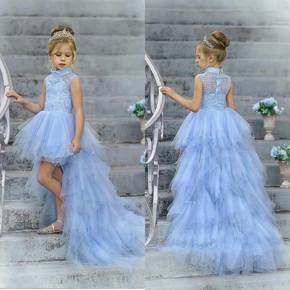 Light Sky Blue Hi-Lo Flower Girls Dresses High Collar Beads Kids Formal Wear Birthday Dress Girls Pageant Gowns Vestidos