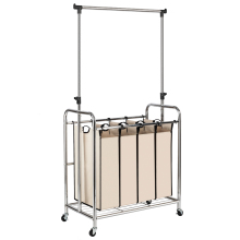 Electroplate Laundry Sorter Clother Rack Four Sections With Hanging Bar Silver Edge & Beige For Home Clother Hanging Drying