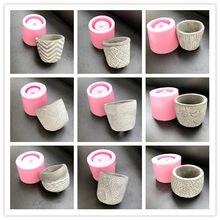 Moldes pequeños de silicona para maceta de cemento, piedra cuadrada redonda, para jardinería, molde de hormigón