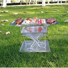 MT-025fly portable outdoor supplies fire BBQ with Storage platform stainless steel folding grill burner oven medium grill