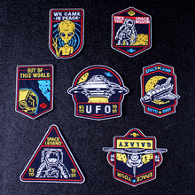 Pulaqi Rock Hippie Patch UFO Embroidered Patches For Clothes Iron on Clothing Stickers On Applique Stripe F
