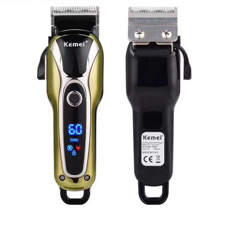 Kemei US KM-1990 Electric Haircutting Razor Oil Head Shear Lithium Battery Liquid Crystal Hair Clipper Razor Electric Hair Clipp