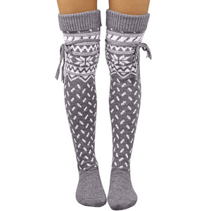 Girls Lovely Autumn Leg Warmers Women Christmas Warm Thigh High Long Stockings Knit Over Knee Socks Xmas Warm Leg Warmer