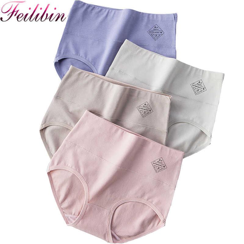 Feilibin 4Pcs กางเกงเอวสูงผู้หญิง Breathable Cotton ชุดชั้นในสบายชุดชั้นในเซ็กซี่หญิง Slimming ชุดชั้นใน