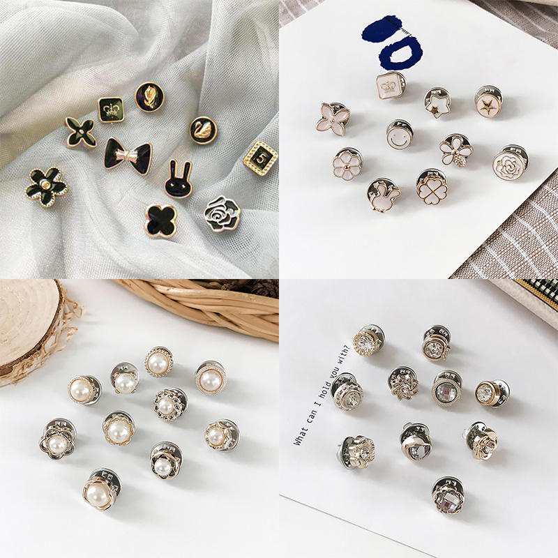 10Pcs Prevent Accidental Exposure Buttons Brooch Pins Badge SER88