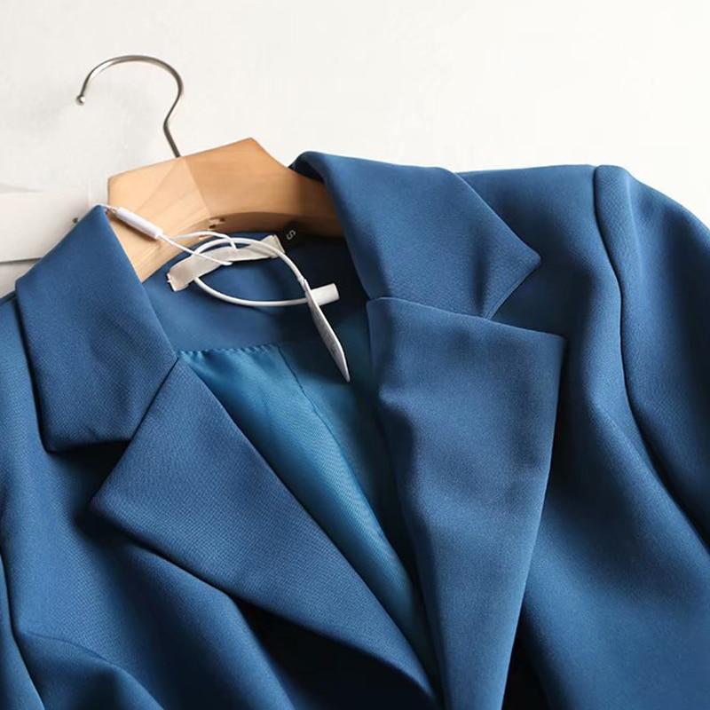 Spring Autumn Blue Blazer 2020 New Women Korean Solid Pockets Suit Jacket Coat Female Casual Long Sleeve Mujer Outwear